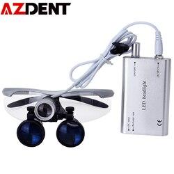 Azdent 3,5 X Vergrößerung Binocular Dental Lupe Chirurgische Lupe mit Scheinwerfer LED Licht Medizinische Betrieb Lupe Lampe