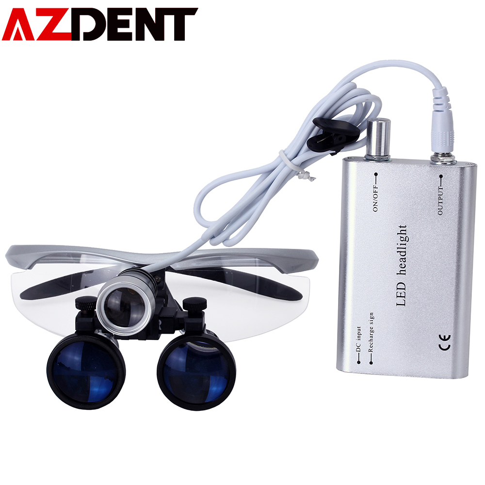 Azdent 3.5X Magnification Binocular Dental Loupe Surgical Magnifier with Headlight LED Light Medical