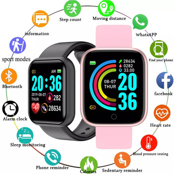 Y68 Smart Watch Men 2021 Smartwatch Heart Rate Blood Pressure Sleep Motion Tracking Monitoring Smart Bracelet for Android IOS 2