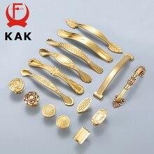 KAK Copper Brass Cabinet Handles Kitchen Cupboard Door Pulls Drawer Knobs European Vintage Gold Furniture Handle Hardware