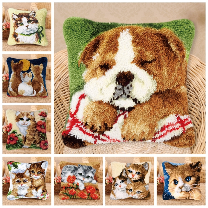 Cute Cat Dog Cartoon Animal Series Latch Hook Pillow Rug Kits Smyrna European And American Style Latch Hook DIY Package Pillow