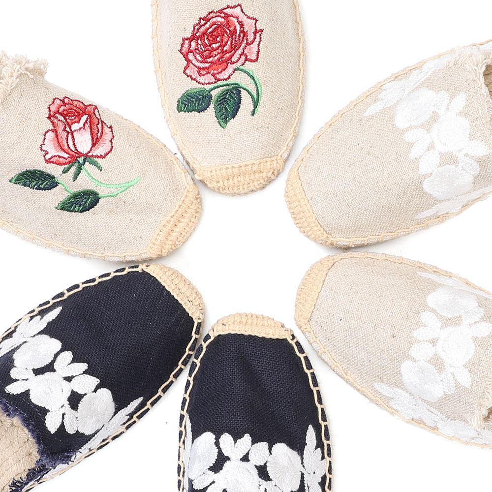 2019 Rushed New Arrival Hemp Summer Rubber Cotton Fabric Unicornio Slippers Tienda Soludos Espadrille Slippers For Flat Shoes  3