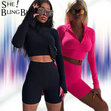 SheBlingBling Neon Fitness 2 Piece Set Women Clothing Set Long Sleeve Crop Tops Gym High Waist Shorts Cycling Set Female Outfits