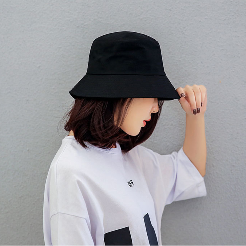 Black White Solid Bucket Hat Unisex Bob Caps Hip Hop Gorros Men women Summer Panama Cap Beach Sun Fishing boonie Hat