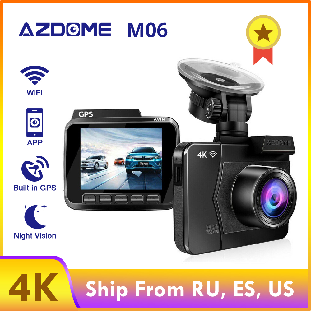 AZDOME M06 4K/2880*2160P WiFi Car DVRs Recorder Dash Cam Dual Lens Vehicle Rear Camera Built in GPS WDR Night Vision Dashcam