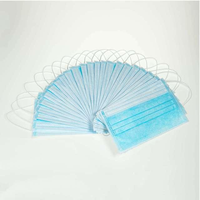 50pcs CE Certification 3-Layer Non-woven Disposable mask  Soft Breathable Flu Hygiene Face PPF3 Blue Dust Mask 3
