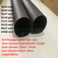 L500mm 3k Carbon Fiber Tube 50mm 55mm 60mm 64mm Roll Wrapped Pipe\/Shaft Light WeightHigh Strength