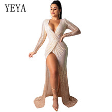YEYA High-end Fashion Sexy Deep V Neck Autumn Apricot Sequined Maxi Dress Women Hollow Out Party Club Strap Dresses Vestidos chic v neck sleeveless hollow out sequined club dress for women