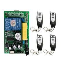 Interruptor de mando inalámbrico de radiofrecuencia AC 220 V 2CH 10A interruptor de luz inalámbrico RECEPTOR + TRANSMISOR de puerta de garaje lámpara/ventana
