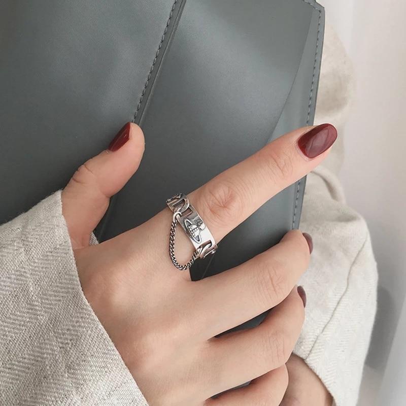 Кольцо HUANZHI для мужчин и женщин, винтажное регулируемое кольцо в виде планеты, серебристого цвета, открытое в стиле панк