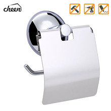 Cheen Wall-Mounted Toilet Paper Holder  Vacuum Suction Cup Bathroom Tissue Roll Hanger Storage
