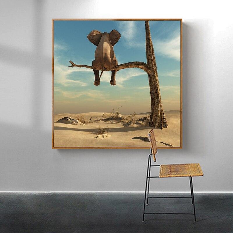 Divertido elefante pequeño en lienzo de árbol pintura arte moderno carteles de animales e impresiones imágenes artísticas de pared para la decoración del hogar de la sala de estar