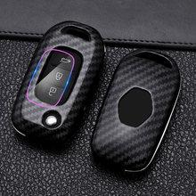 Fibre de carbone ABS 3 boutons voiture clé housse pour Lada Vesta Granta pour Renault Megane Clio Captur Kangoo clé sac coque