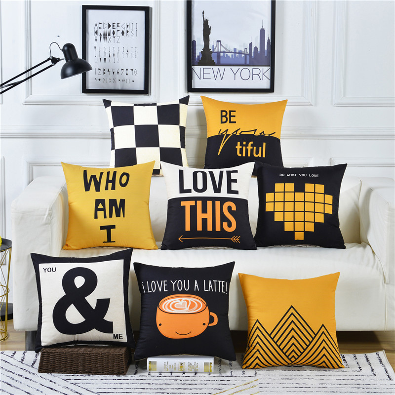 Decorative <font><b>Cushion</b></font> <font><b>Covers</b></font> <font><b>50x50</b></font> 60x60 Polyester Sanding Material Lemon Yellow Geometric Rectangle 30x50 Throw Pillows Pillowcase image