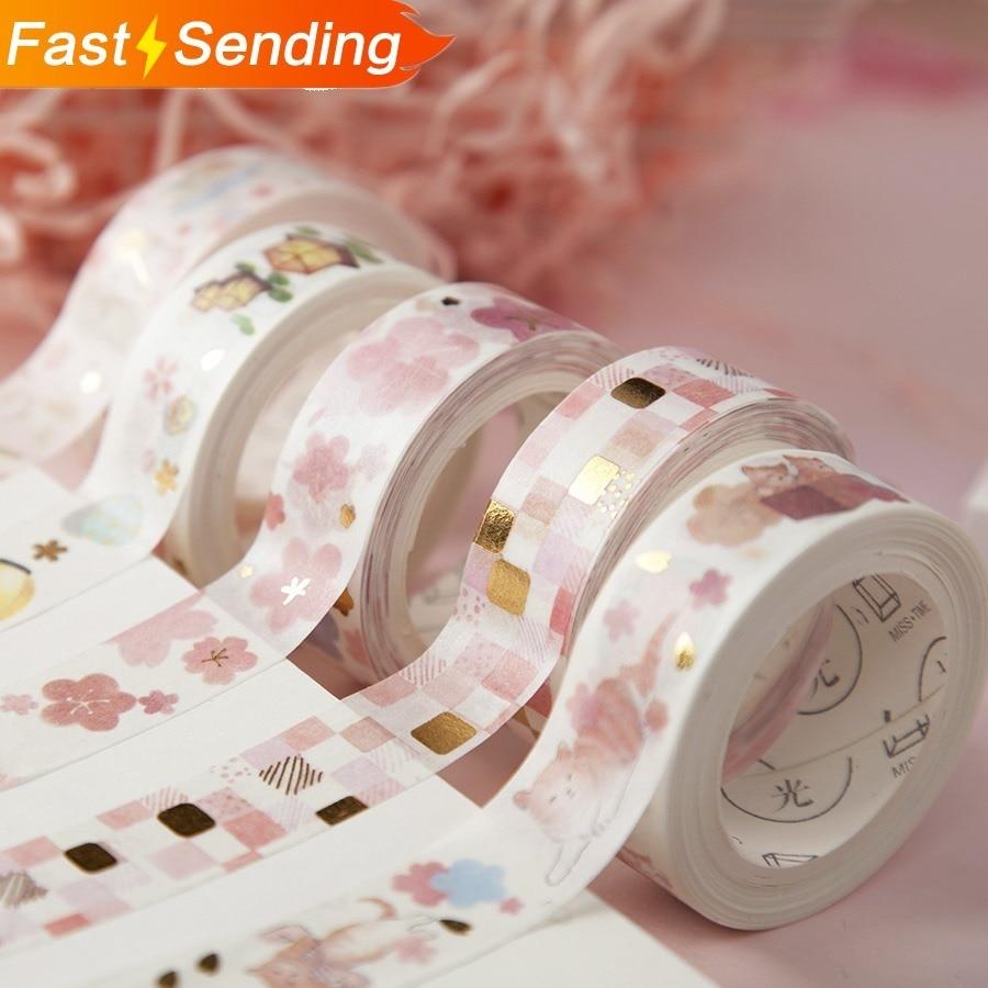 JIANWU 15mm*5m Pink Sakura Cute Washi Tape Clear Masking Tape Kawaii Decor Sticker For The Diary School Bullet Journal Kawaii