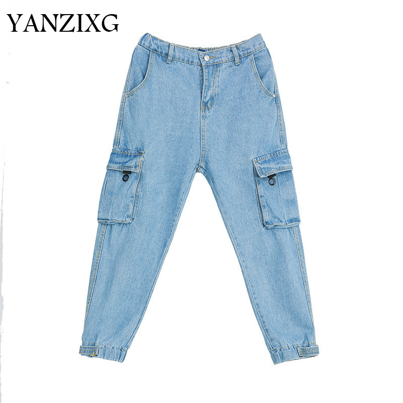 2019 Summer Clothes For Women New Pattern Double Pockets Jeans Street Style Tide Personality Cargo Pants Bottoms W872