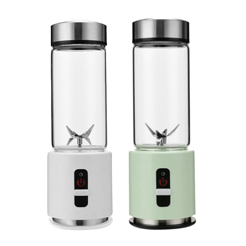 2set USB Rechargeable Smoothie Blender 380Ml Glass Smoothie Blender Juicer Easy Small Portable Blender White & Green image