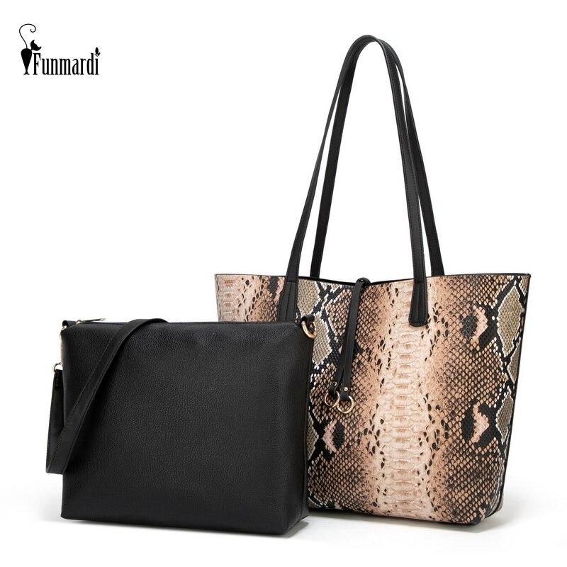 FUNMARDI Serpentine Leopard Handbags Female Shoulder Bags 2pcs Women Bags Set Composite Bags PU Leather Women Handbag WLHB2006