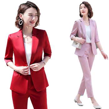 Fashion Ladies Red Blazer for Women Business Suits Pant and Jacket Sets Work Wear Office Uniform Styles Suit Suits Set 2 Pieces uniform business pant suits formal jacket and pant blazer set women office lady 2 two pieces suits uniform ka1089