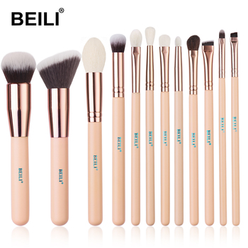 BEILI Matte Pink Makeup Brushes Set goat hair Powder Foundation Concealer Blush Eyeshadow rose gold natural hair Make up brushes 10