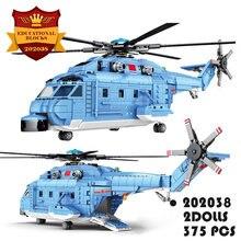 375 pçs modelo militar lutador piloto blocos de construção geral helicóptero montagem brinquedos de alta tecnologia avião tijolos crianças presentes
