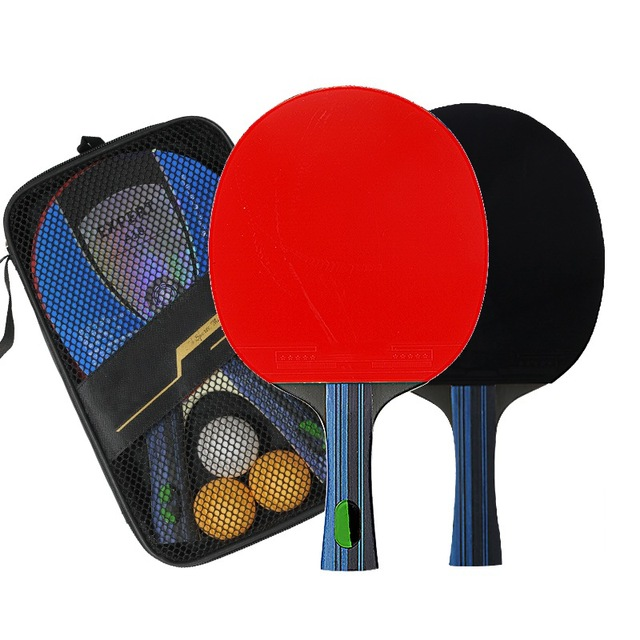 Table Tennis Racket Double Side Pimples-in Rubber Wooden Bottom Ping-pong Bats Racquet Sports Accessories With Balls Bag 5
