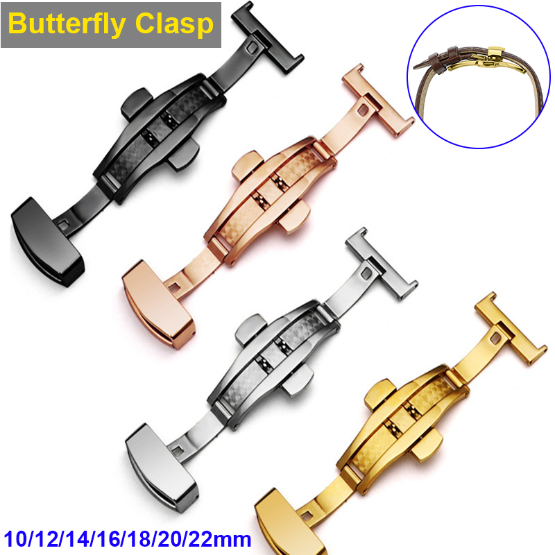 Luxury Stainless Steel Butterfly Clasp for Watch Watch Band Replacement Strap Clasp 10mm-22mm Watchband Belt Butterfly Clasp D30