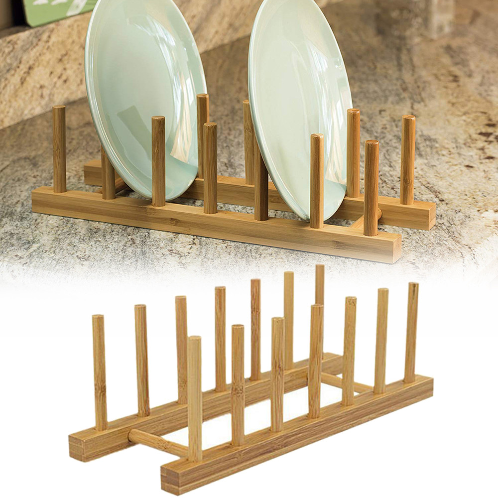 Bamboo Dish Rack Drain Board Dry Drain Rack Storage Kitchen Cabinet Storage Box Kitchen Utility Gadget #Zer