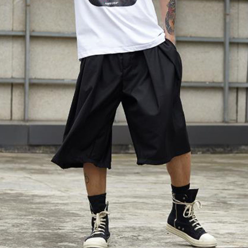 Men Streetwear Hip Hop Punk Gothic Loose Casual Skirt Pant Male Oversize Fashion Kimono Wide Leg Harem Trousers