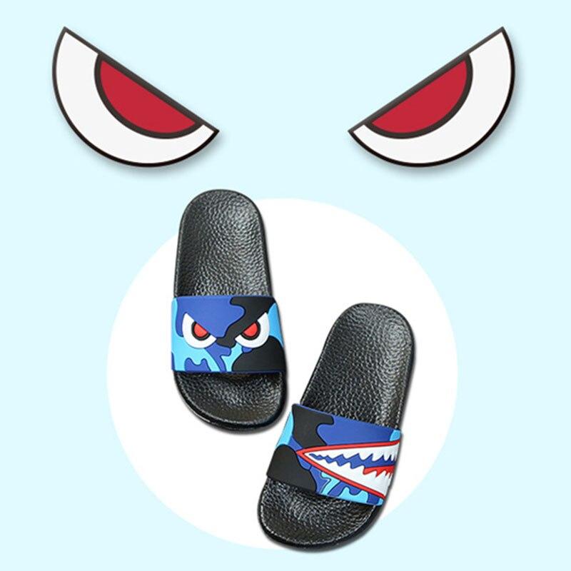 Kids Cartoon Shark Slippers Baby Boys Summer Sandals Baby Non-Slip Flat Kids Shoes Toddler Swimming Baby Girls Shoes Slipper
