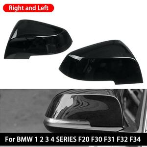1 Pair Side Rearview Wing Mirror Cover Caps For BMW 1 2 3 4 Series F20 F30 F31 F32 F34 F36 E84 2014 -2018 ABS Gloss Black Look