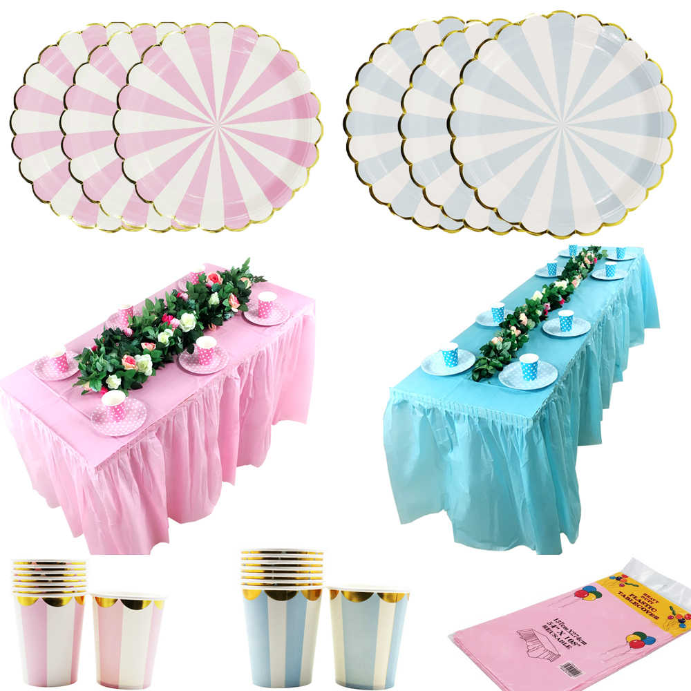 Disposable Plastic Table Skirt  Blue Pink Table Cover Paper Cup Plate Dish Straw for Birthday Party Wedding Festival Decoration