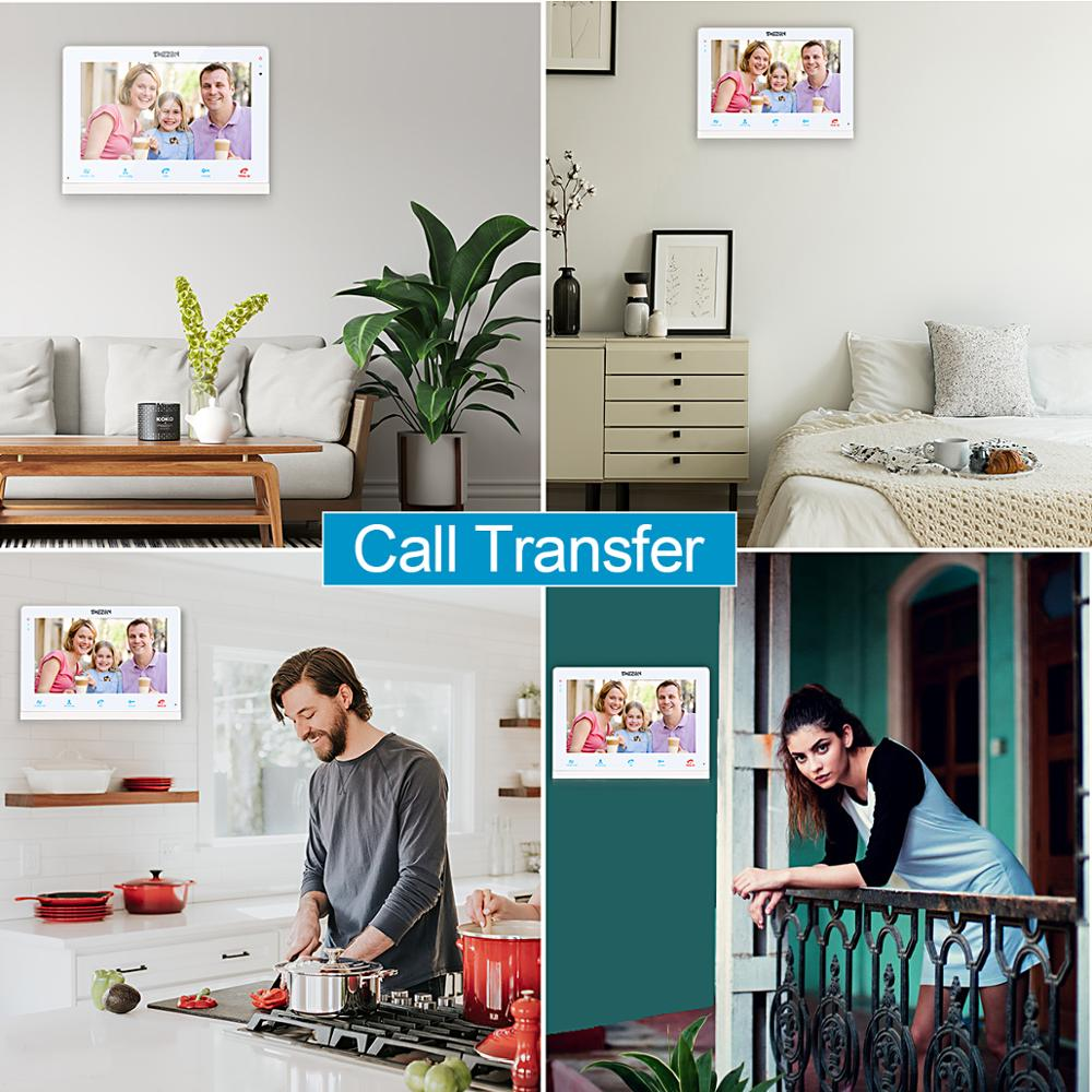 Купить с кэшбэком TMEZON 10 Inch Wireless Wifi Smart IP Video Doorbell Home Intercom System,Touchscreen Monitor with 720P Wired Door Phone Camera
