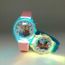 Colorful Flash Light Kids Watches Pink Jelly Princess Quartz