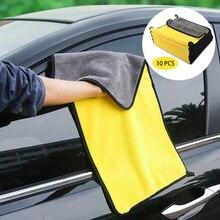 10 stücke Auto Pflege Polieren Waschen Handtücher Plüsch Mikrofaser Waschen Trocknen Handtuch Starken Dicken Plüsch Polyester Faser Auto Reinigung Tuch