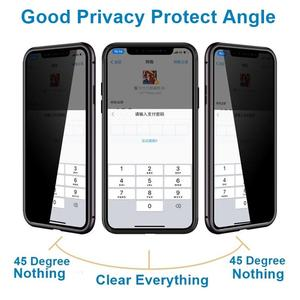 Image 2 - Magnetic Adsorption Tempered Glass Privacy Metal Phone Case Coque 360 Magnet Antispy Cover for iPhone XR XS X 11 Pro Max 8 7 6s