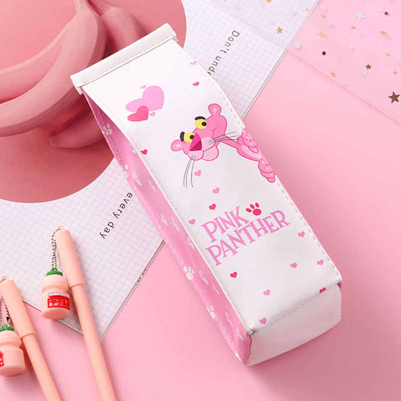 Love pink leopa cartoon cute pencil case creative fun milk box pencil bag student stationery and cosmetics  pen case pencil bag