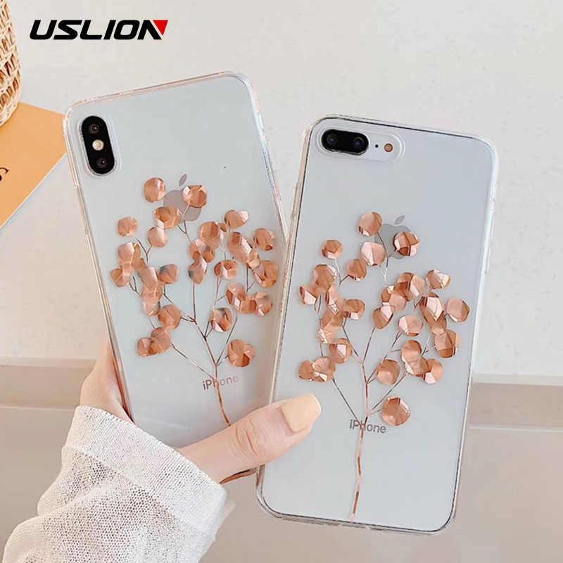 USLION brillo hoja de oro estuche transparente para iPhone 11 Pro X XS X Max XR 8 7 11 claro teléfono cubierta Bling de los casos