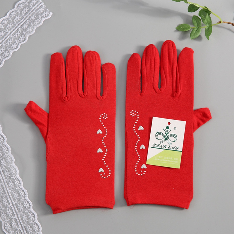 Women Short Plain Performance Gloves High Quality Waitress Gloves Manner Ceremonial Gloves Ladies Drive Gloves With Hot Fix