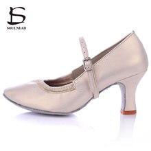 Latin Dance Shoes Women Medium Heels Modern Salsa Ballroom Dancing Shoes Womans Soft Sole Tango Dance Shoes Heels 5cm/7cm
