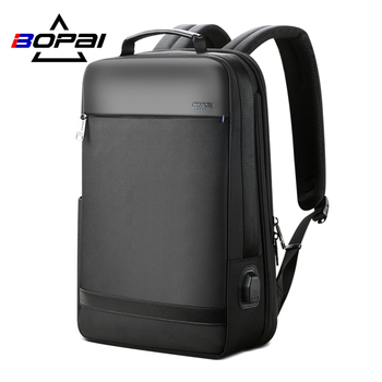 BOPAI Business 15.6 Inch Laptop Backpack Men USB Charging Large Capacity Computer Bag Travel Waterproof Anti Theft Stylish frn business usb charging bag men 17 inch laptop backpack waterproof high capacity mochila antitheft casual travel backpack bag
