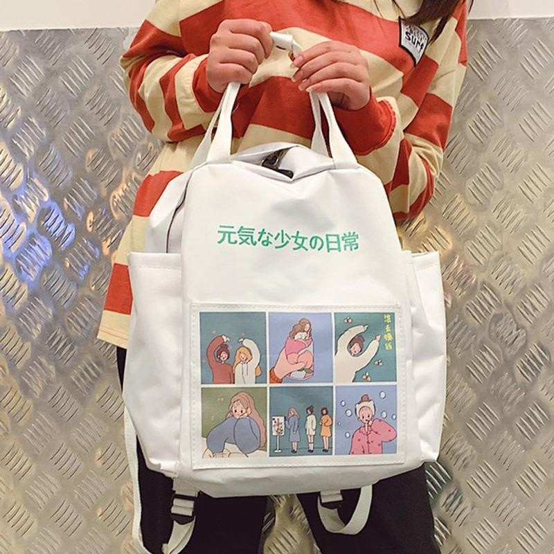 Japanese Backpack Women School Teenagers Girls Kpop 2020 Girl Bag Anime Printing Back Pack School Bags Women Zipper Book Bag