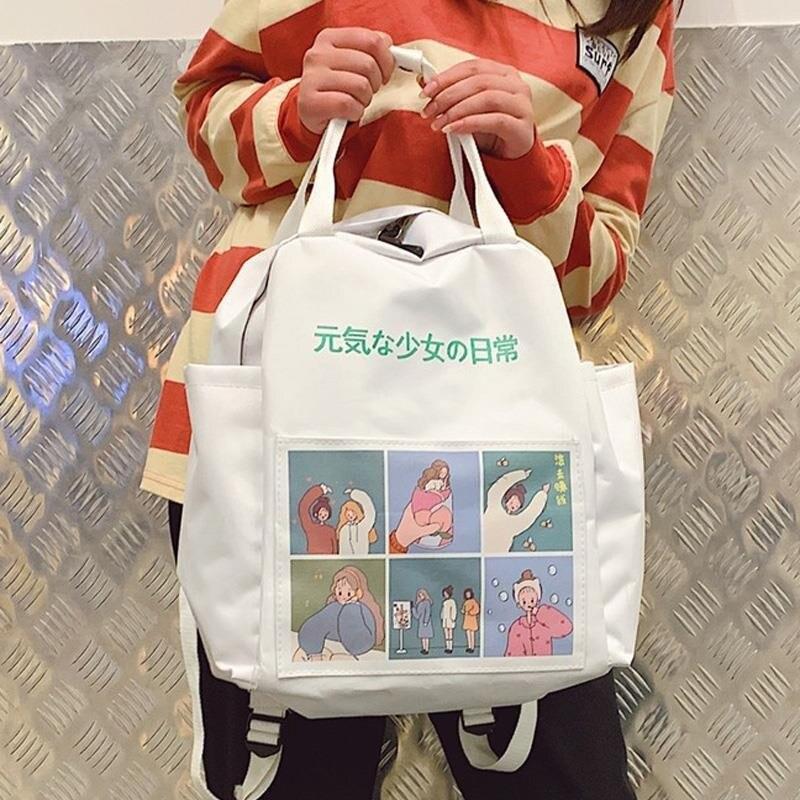 Japanese Backpack Women School Teenagers Girls Kpop 2020 Girl Bag Anime Printing Back Pack School Bags Women Zipper Book Bag
