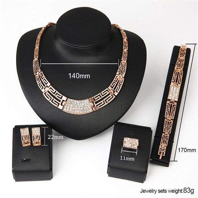 Conjunto de joyería para mujer, oro nuevo, Vintage, anillo circón cuadrado, Gargantilla dorada, collar para mujer, pulseras de marca 6