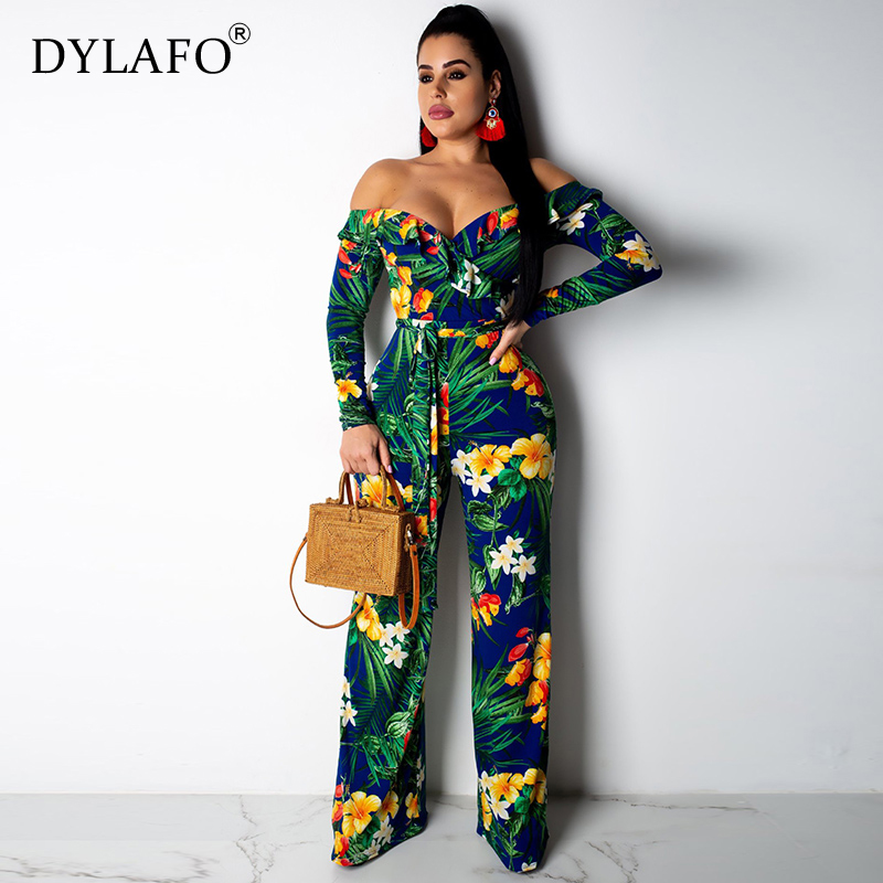 Hot Sale Bohemian Women Off Shoulder Print Lace Up Jumpsuits&Rompers Long Sleeve Plus Size Rompers 2019 Slash Neck Overalls