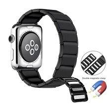 Pulseira de relógio de aço inoxidável para apple pulseira de relógio 6 5 4 3 2 1 44mm 40mm 42mm 38mm laço magnético pulseira para iwatch