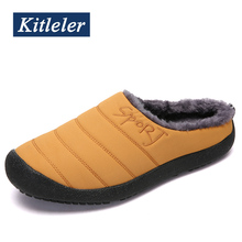 Waterproof  Mens Home Slippers Men Winter Shoes Solid Plush Sneakers House Slippers Indoor Warm Shoes Casual Zapatillas Hombre