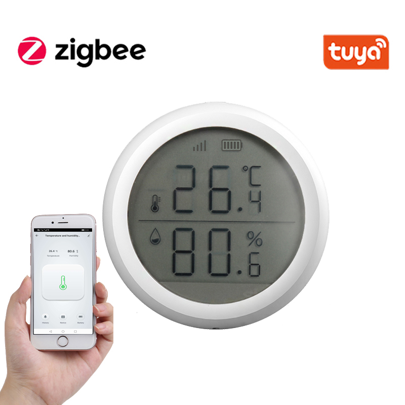 Tuya ZigBee Smart Home Temperature And Humidity Sensor With LED Screen Works With Amazon
