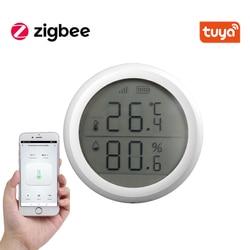 Tuya zigbee casa inteligente temperatura e sensor de umidade com tela led funciona com amazon google assistente casa
