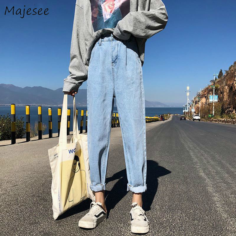 Jeans Women Classic High Waist Solid All-match Straight Loose 2XL Fashion Leisure Daily Simple Students Trousers Ankle-length BF